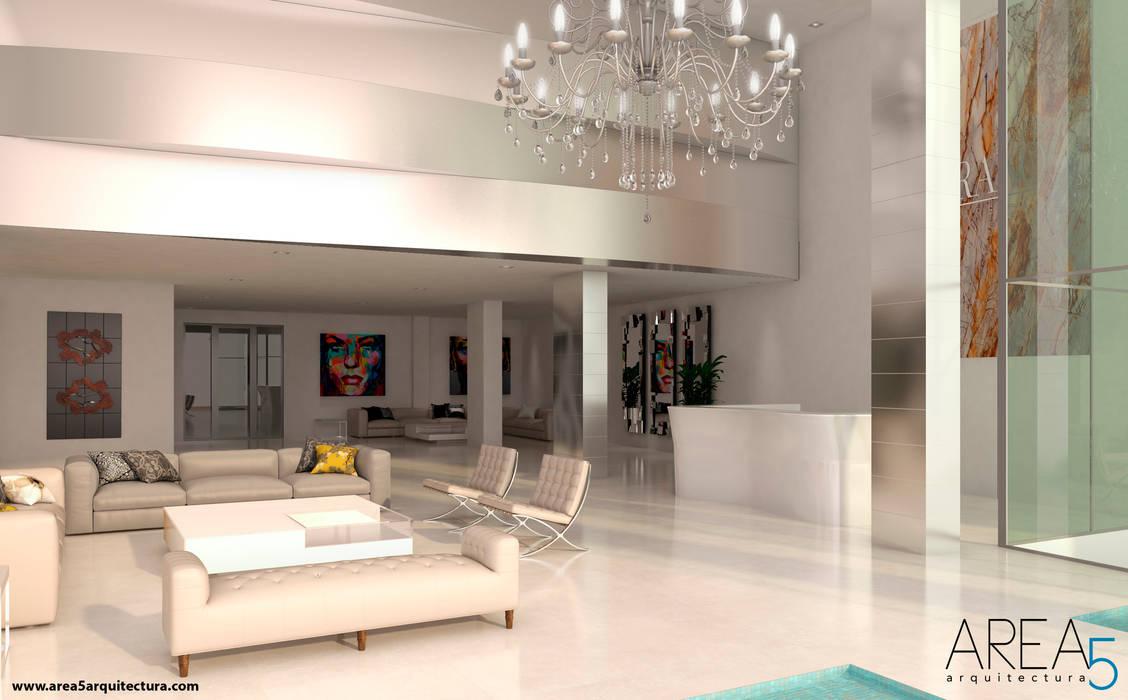 Morano Mare - Lobby de Acceso: Pasillos y vestíbulos de estilo  por Area5 arquitectura SAS