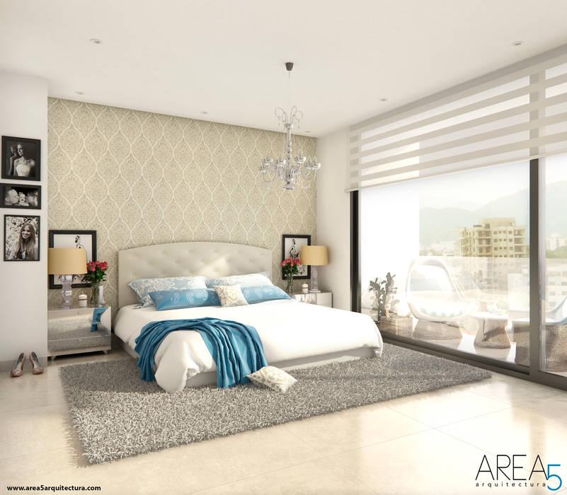 Morano Mare - Alcoba principal: Habitaciones de estilo  por Area5 arquitectura SAS