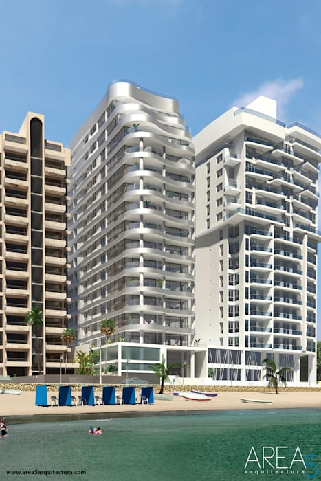 Morano Mare - Fachada: Terrazas de estilo  por Area5 arquitectura SAS