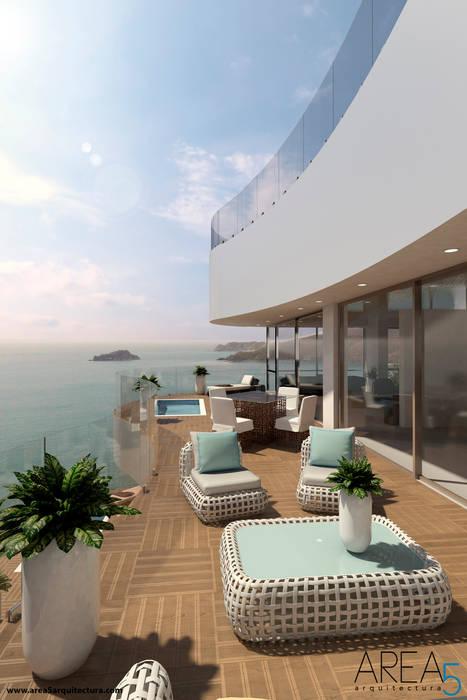 Morano Mare - Terraza penthouse Area5 arquitectura SAS Balcones y terrazas de estilo moderno Cerámico Acabado en madera