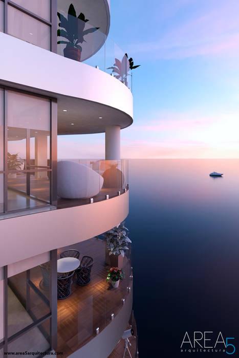 Morano Mare - Diseño de terrazas Balcones y terrazas de estilo moderno de Area5 arquitectura SAS Moderno