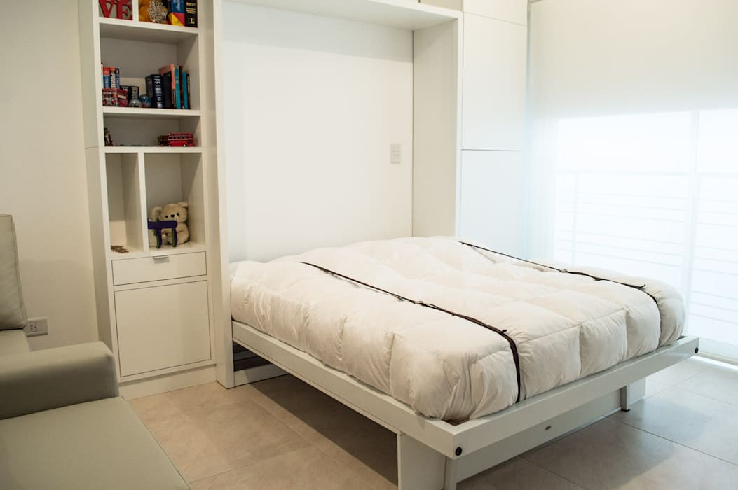 MinBai 臥室床與床頭櫃 木頭 White