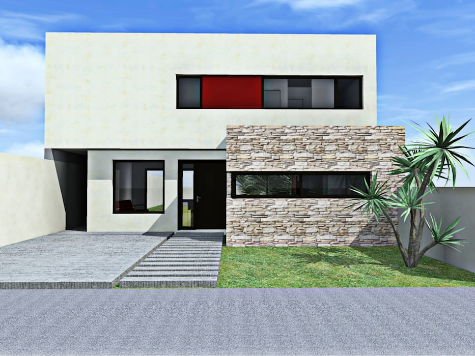 Render fachada frente: Casas de estilo  por epb arquitectura,Moderno