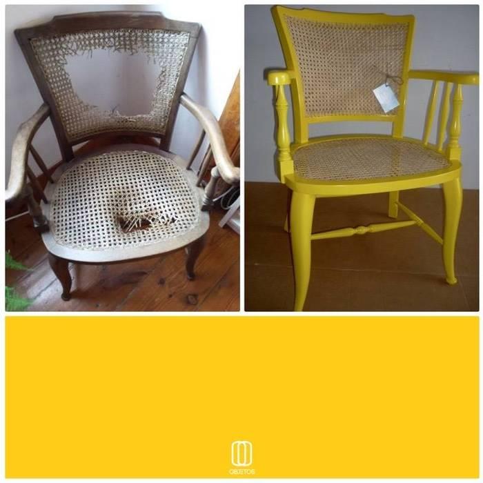 cadeira em palhinha recuperada e reciclada por Objetos Moderno Madeira Acabamento em madeira