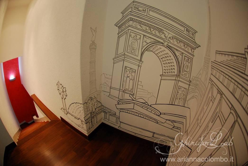 World skyline, i monumenti: Ingresso & Corridoio in stile  di Ghirigori Lab di Arianna Colombo
