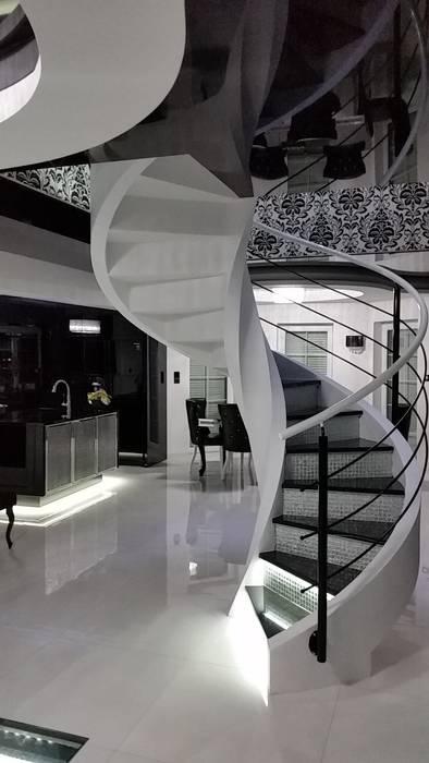 schody Nowoczesny korytarz, przedpokój i schody od A.P. RUD Schody Nowoczesny Beton