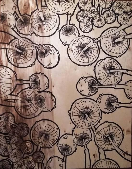 Cuadro de Hongos de LM decoración Moderno Madera Acabado en madera