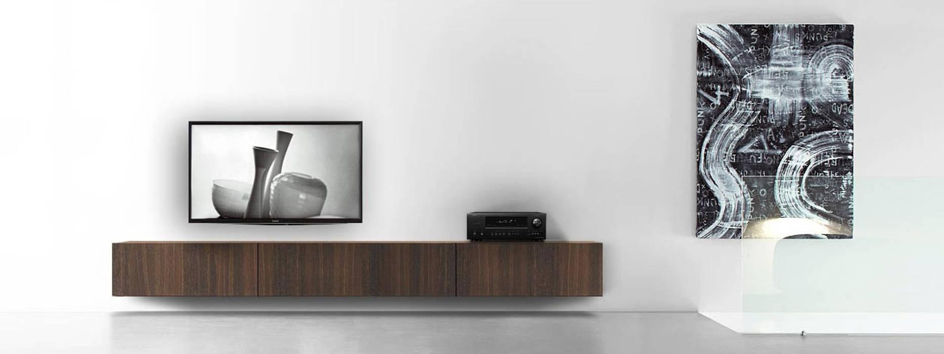 300 cm breites h ngendes wand holz lowboard aus brauner eiche moderne wohnzimmer von livarea. Black Bedroom Furniture Sets. Home Design Ideas