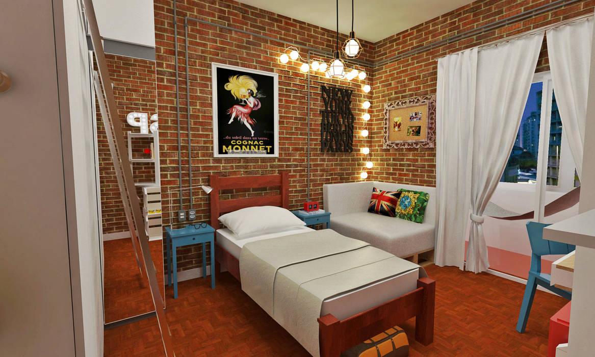 Atelier Par Deux Industrial style bedroom Bricks Multicolored