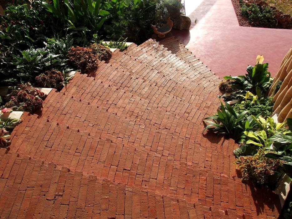 Close up of Brick steps The White Room Mediterranean style garden