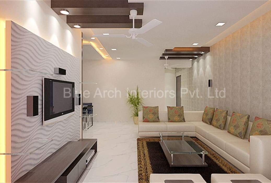 Subramanium Residence (Mulund):  Living room by Bluearch Architects & Interiors