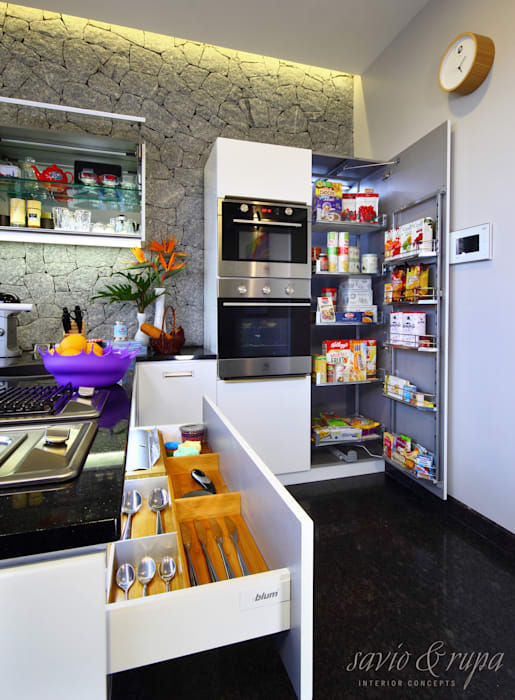 Kitchen Storage and Organizers Savio and Rupa Interior Concepts KitchenCabinets & shelves