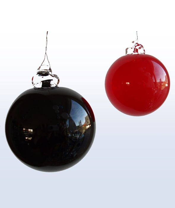 Christbaumkugeln Glas Schwarz.Weihnachtskugeln Christbaumkugeln 2 Kugeln In Schwarz Und Rot