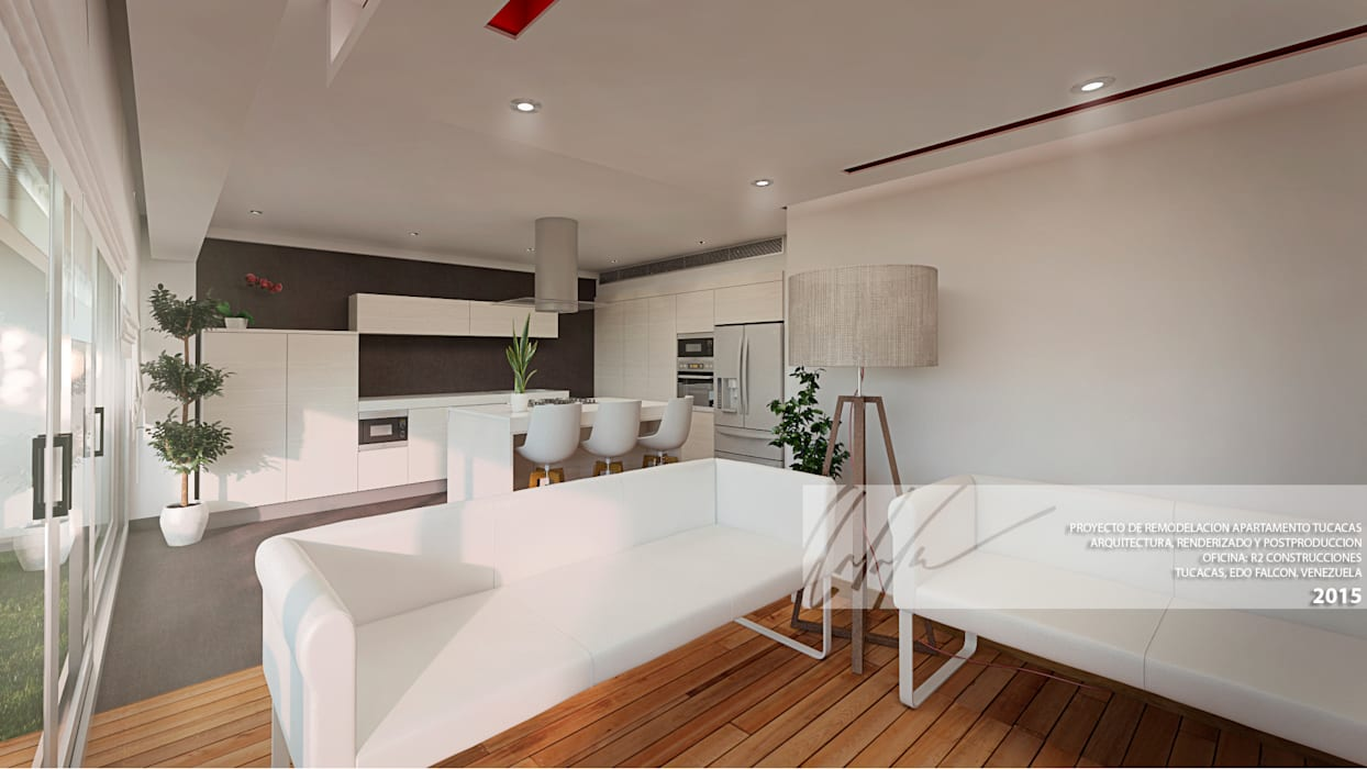 SALAS/RECIBIDORES: Salas / recibidores de estilo minimalista por Arq.AngelMedina+