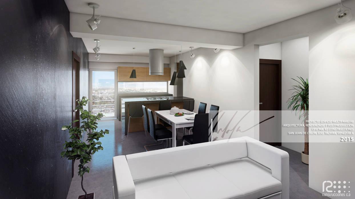 SALA/RECIBIDOR: Salas / recibidores de estilo minimalista por Arq.AngelMedina+