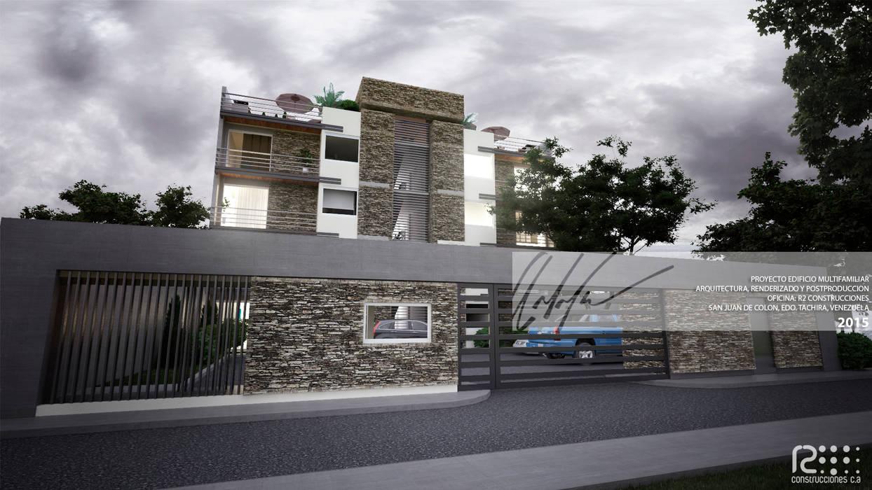 ENTRADA PRINCIPAL A EDIFICIO: Casas de estilo  por Arq.AngelMedina+