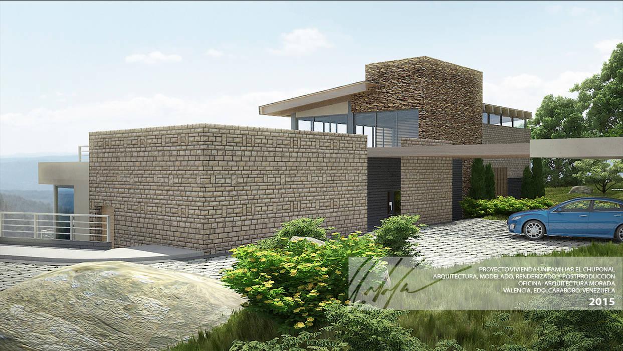 FACHADA PRINCIPAL Arq.AngelMedina+ Casas de estilo minimalista Piedra Marrón