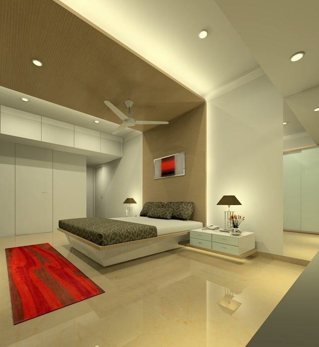 Master bedroom:  Bedroom by A.S.Designs,Modern Plywood