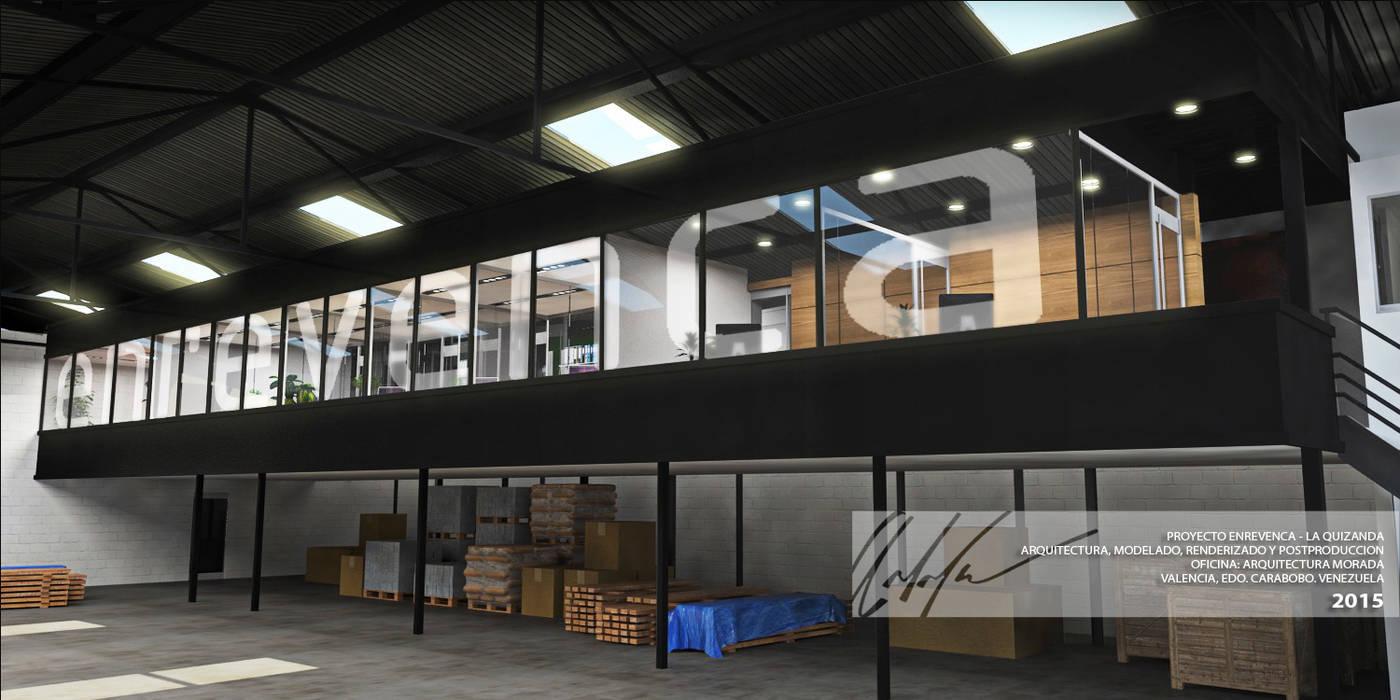 VOLUMEN DE AREAS DE OFICINA: Oficinas y Tiendas de estilo  por Arq.AngelMedina+