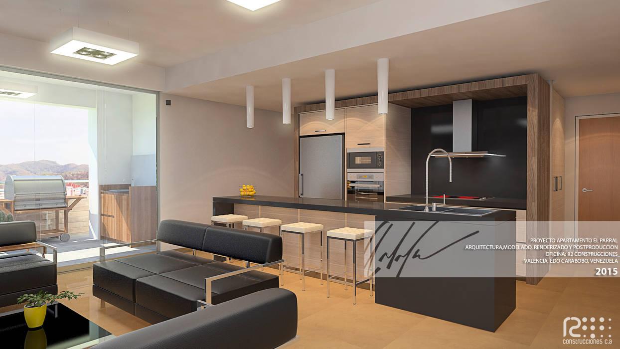 SALA/COCINA: Cocinas de estilo minimalista por Arq.AngelMedina+