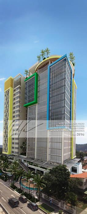 Fotomonmtaje Fachada Principal Casas modernas de Arq.AngelMedina+ Moderno Metal