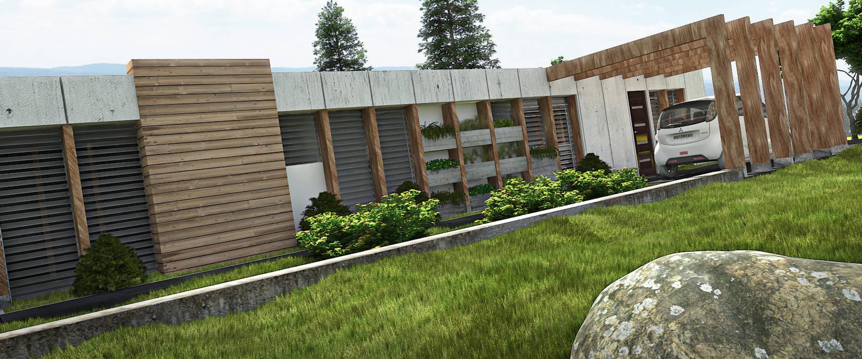 AREA DE AMPLIACION Y PLANTACION : Casas de estilo minimalista por Arq.AngelMedina+