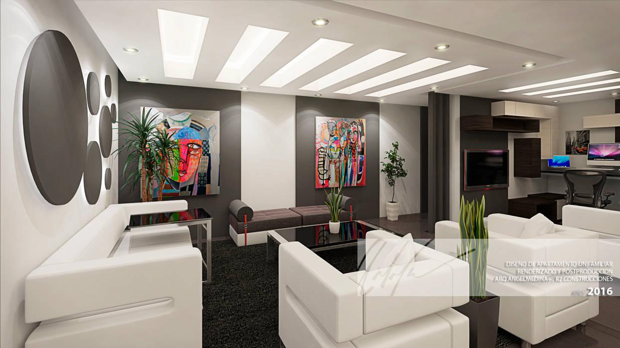 Sala principal y sala de  TV: Salas / recibidores de estilo  por Arq.AngelMedina+