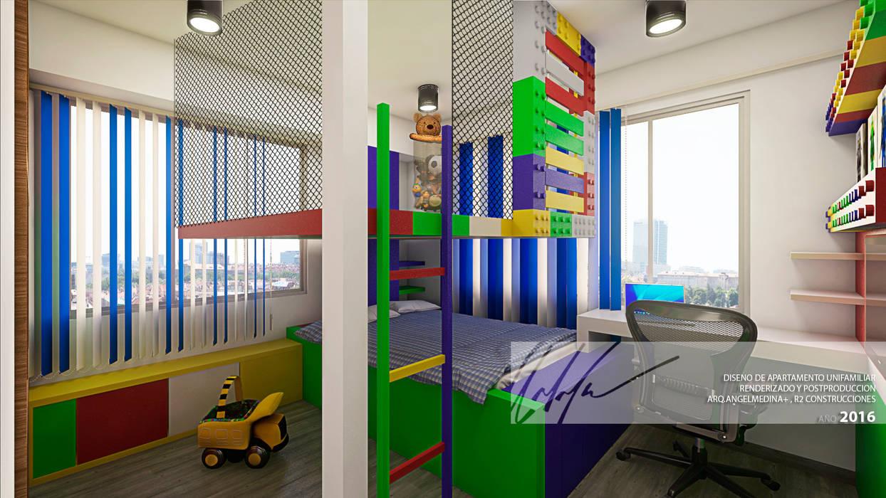 Habitacion de ninos B Cuartos infantiles de estilo minimalista de Arq.AngelMedina+ Minimalista Compuestos de madera y plástico