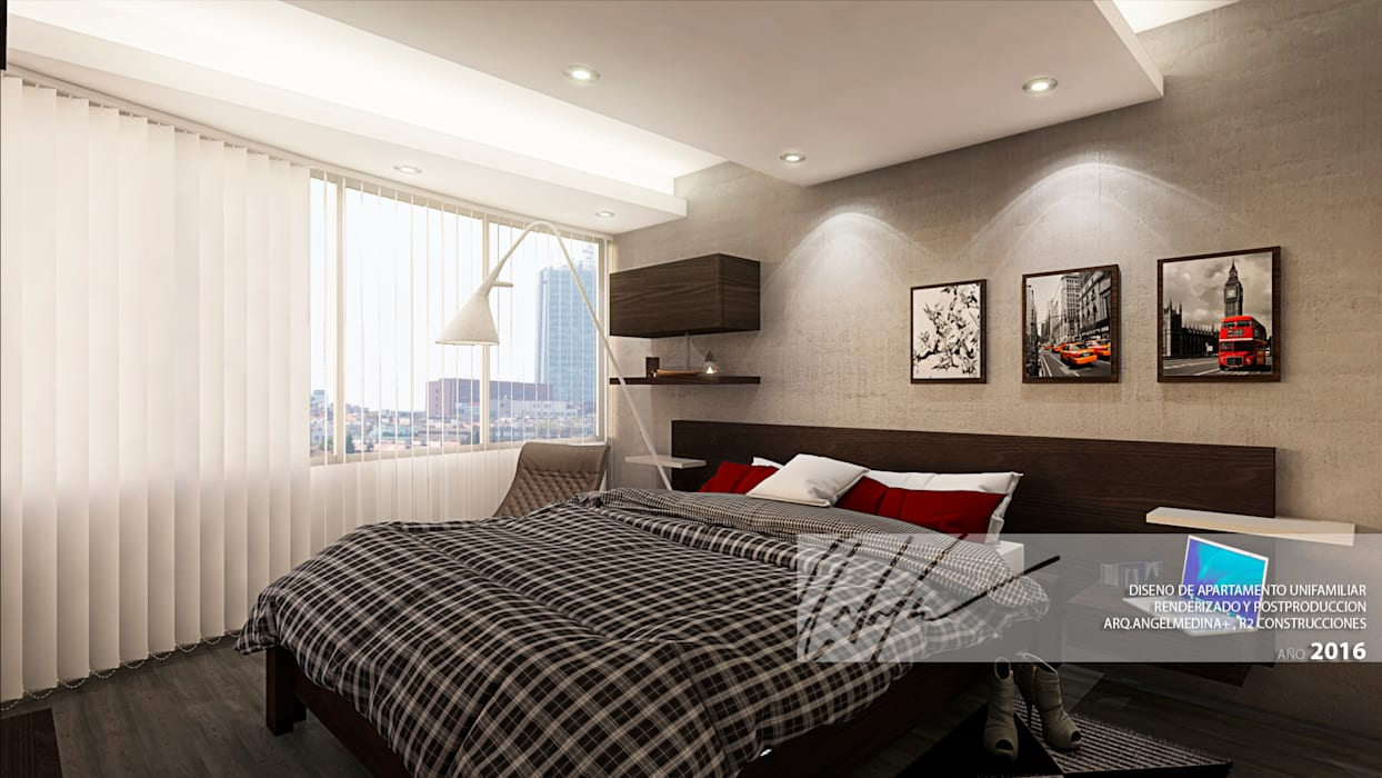 Habitacion Principal Cuartos de estilo minimalista de Arq.AngelMedina+ Minimalista Concreto