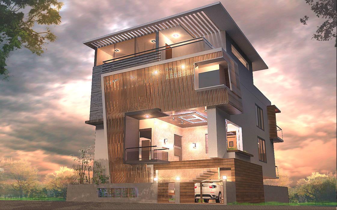 MUNIRAJU 'S RESIDENCE: modern Houses by TECHNO ARCHITECTURE .INC