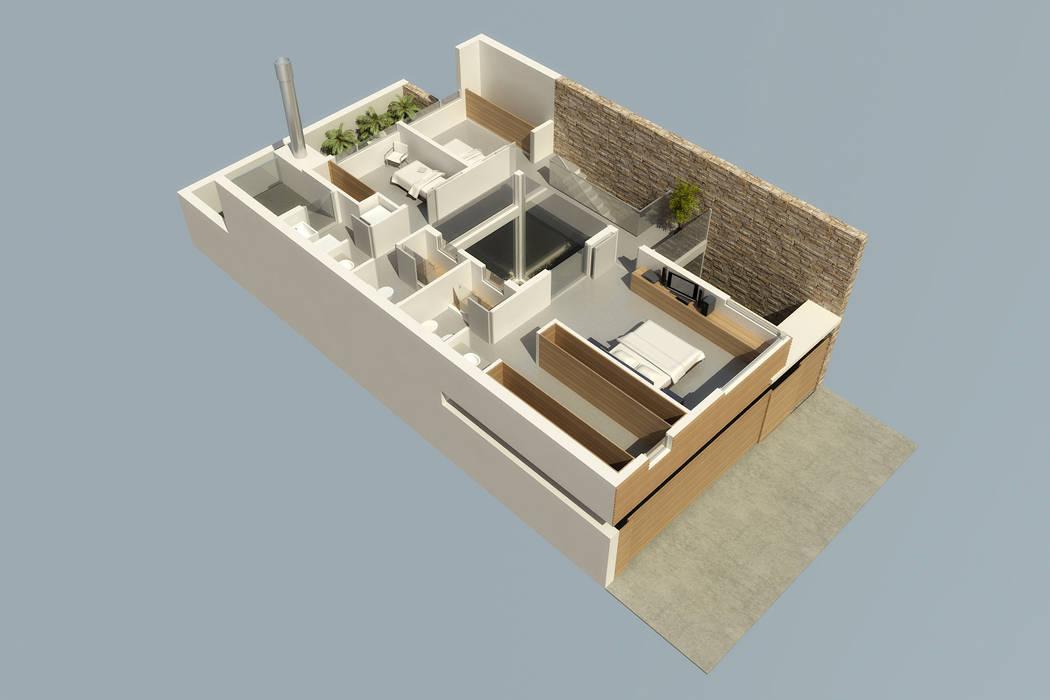 Planta alta de vivienda unifamiliar: Casas de estilo moderno por crearinteriores