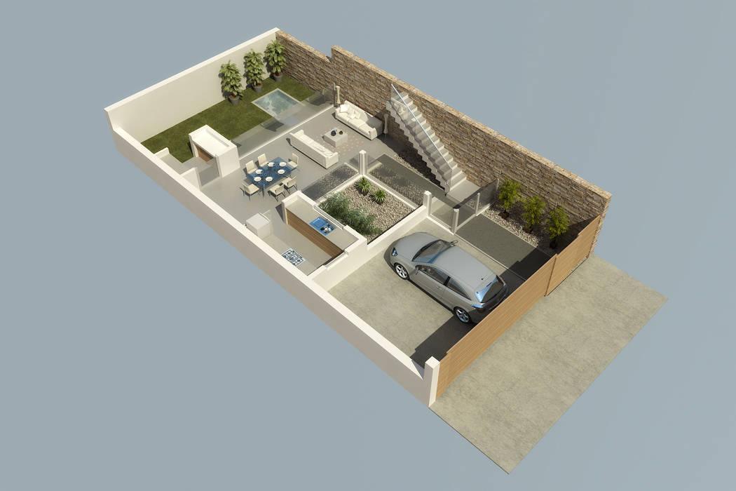 Planta baja de vivienda unifamiliar: Casas de estilo  por crearinteriores