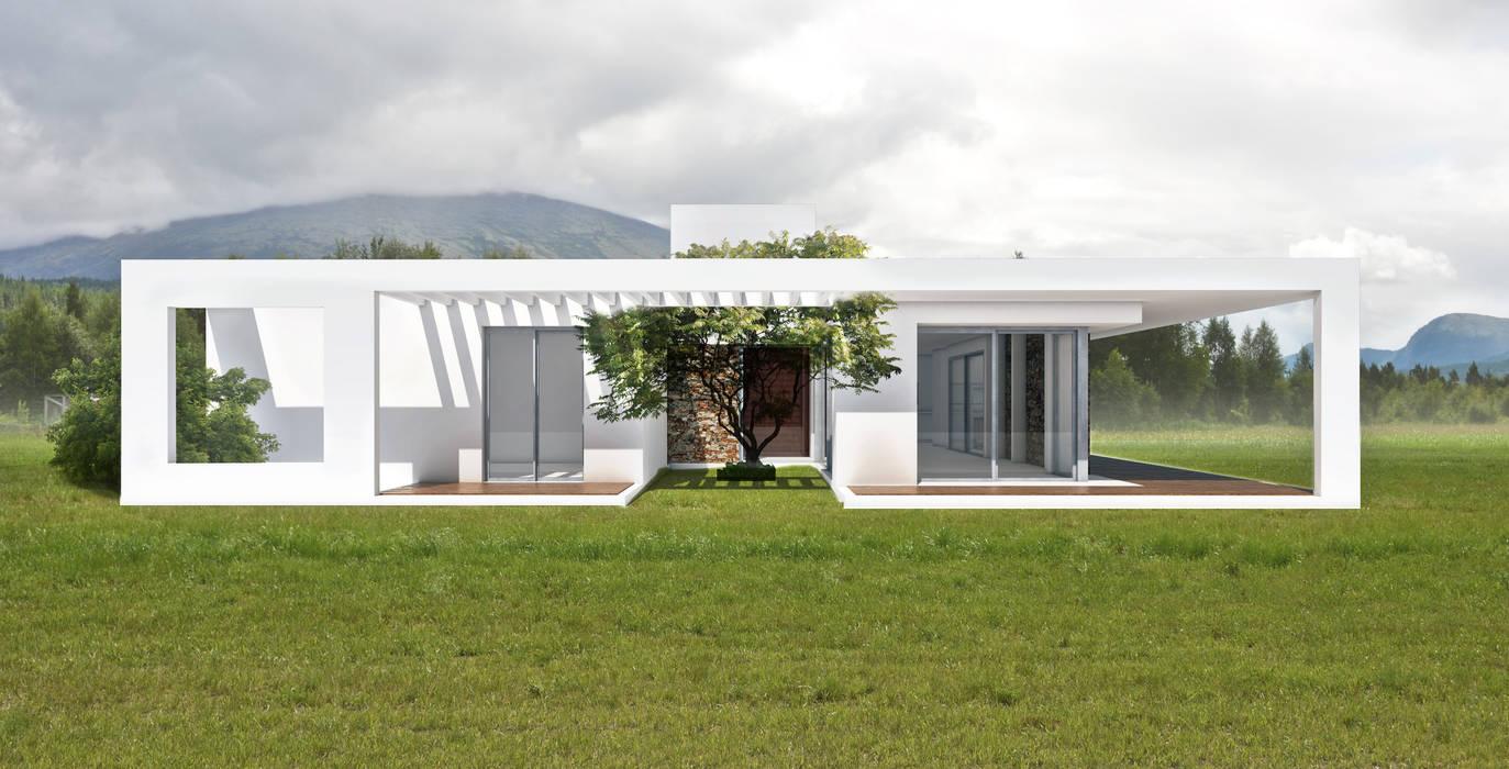fachada norte: Casas unifamiliares de estilo  por 1.61 Arquitectos
