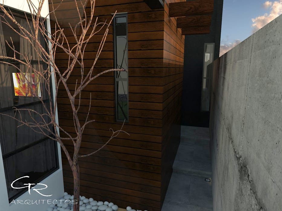 House Jc-1 : Pasillos y recibidores de estilo  por GT-R Arquitectos