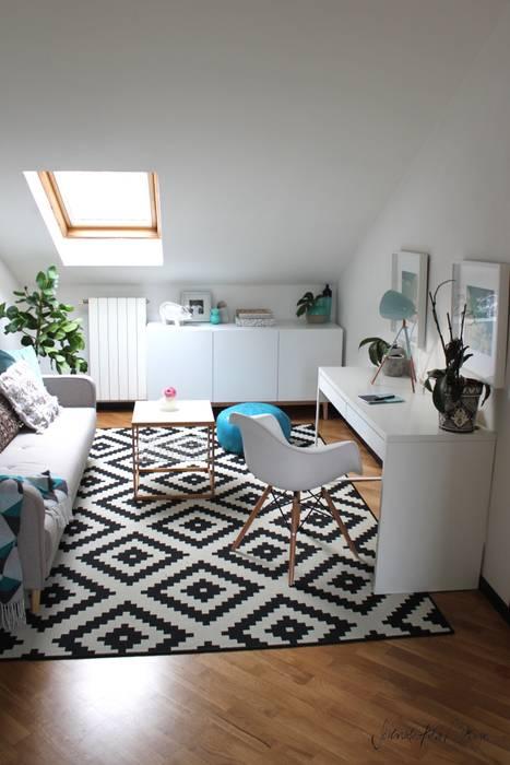 home office - project cool flat: Bureau de style de style eclectique par Severine Piller Design LLC