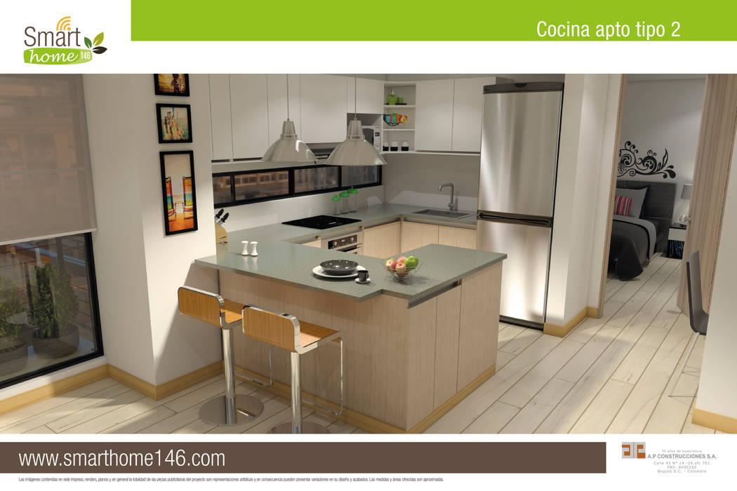 Cocina tipo barra americana: Cocinas de estilo  por AP Construcciones S.A.