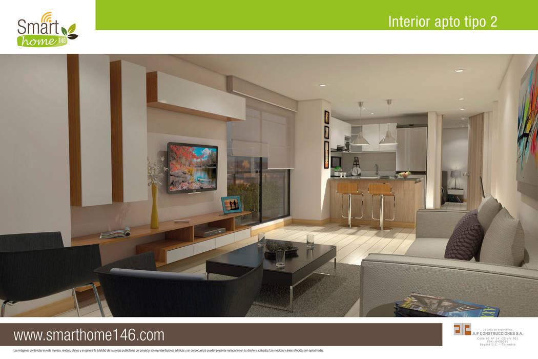 Zona Social y cocina tipo barra amaricana: Salas de estilo moderno por AP Construcciones S.A.