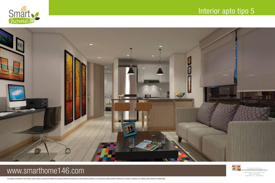 Salon comedor cocina  Apto tipo 5: Salas de estilo moderno por AP Construcciones S.A.