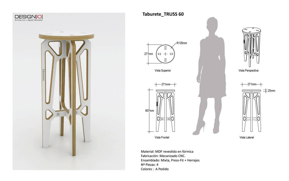 Taburete TRUSS_60:  de estilo industrial por DESIGNIO | Fab Studio, Industrial Contrachapado