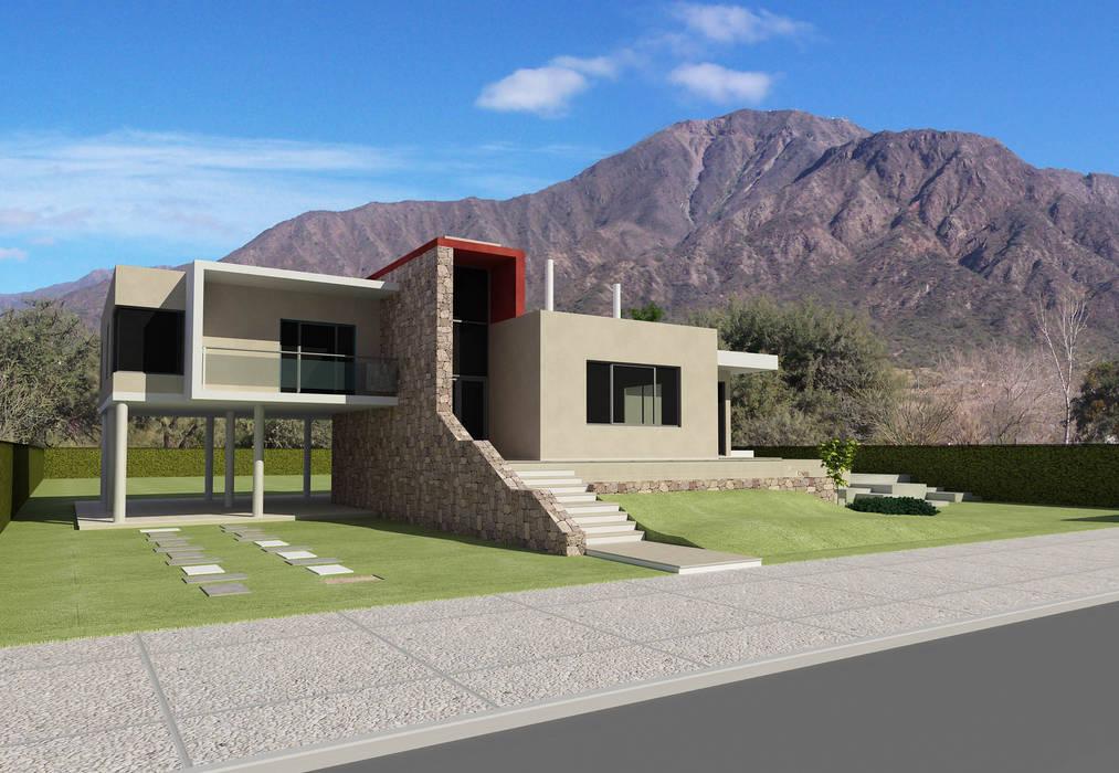 Render Exterior de Arquitecto Manuel Daniel Vilte Minimalista Piedra