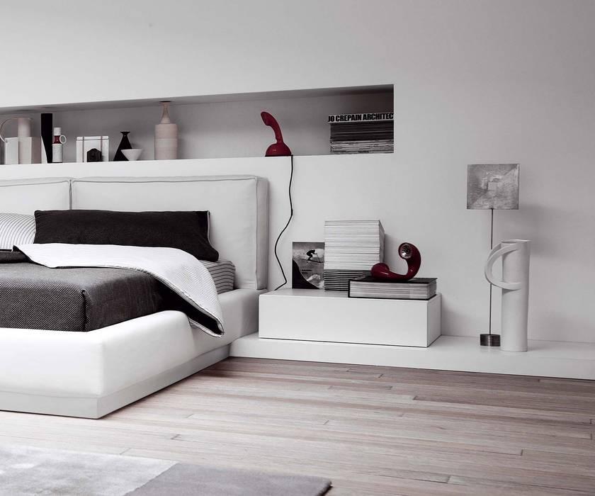 Design nachttisch mit einer schublade auf podest: schlafzimmer von ...