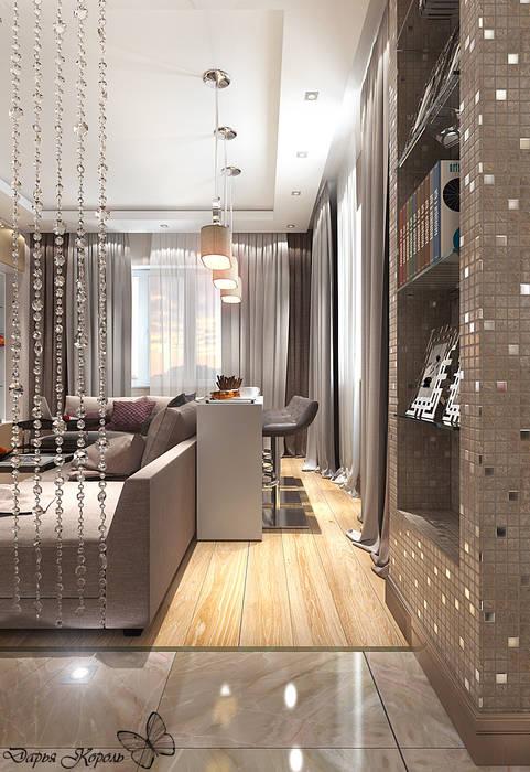 Студия кухня-гостиная с примыканием прихожей: Гостиная в . Автор – Your royal design, Минимализм