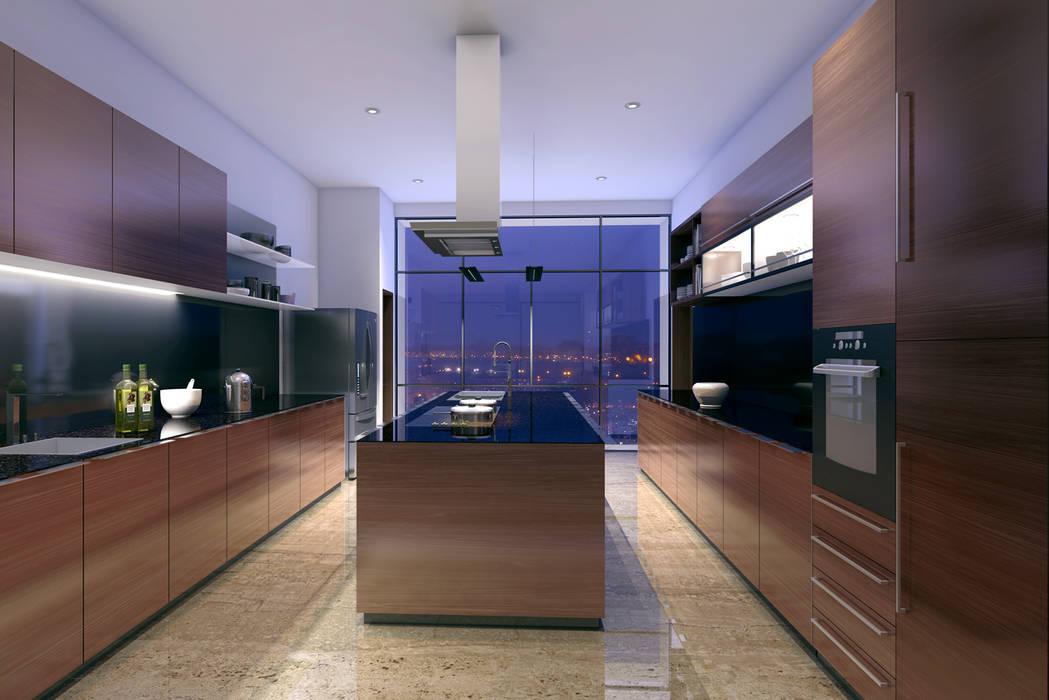 HYDE PARK TOWER,  BIBBEWADI, PUNE:  Kitchen by Chaney Architects