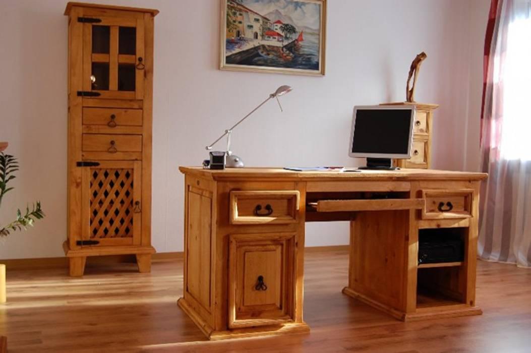 Schreibtisch el-paso pinie massiv holz computertisch ...