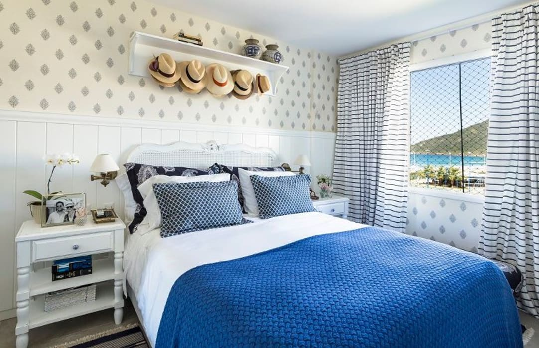 Dormitorios mediterráneos de Flavia Guglielmi Arquitetura Mediterráneo