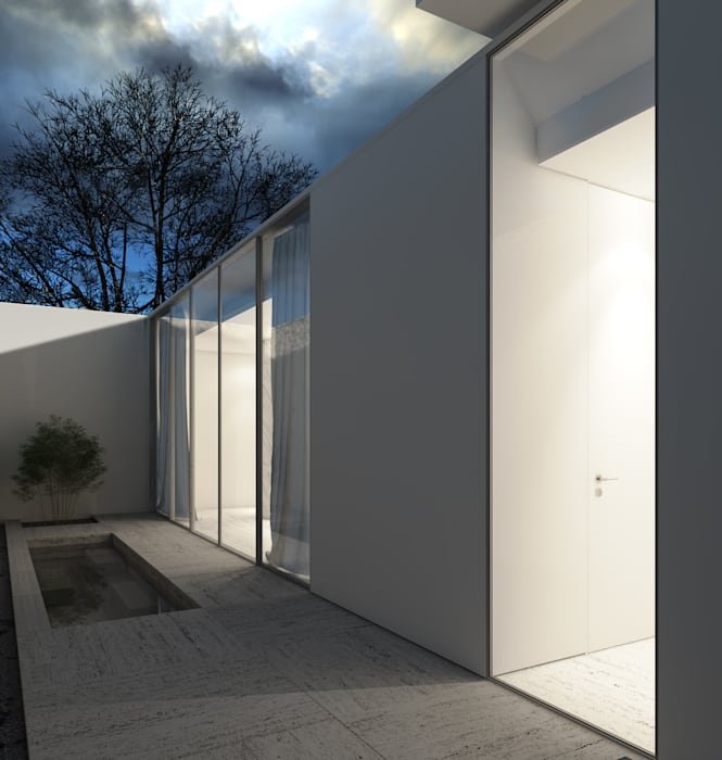 Pátio interior Varandas, marquises e terraços minimalistas por Varq. Minimalista