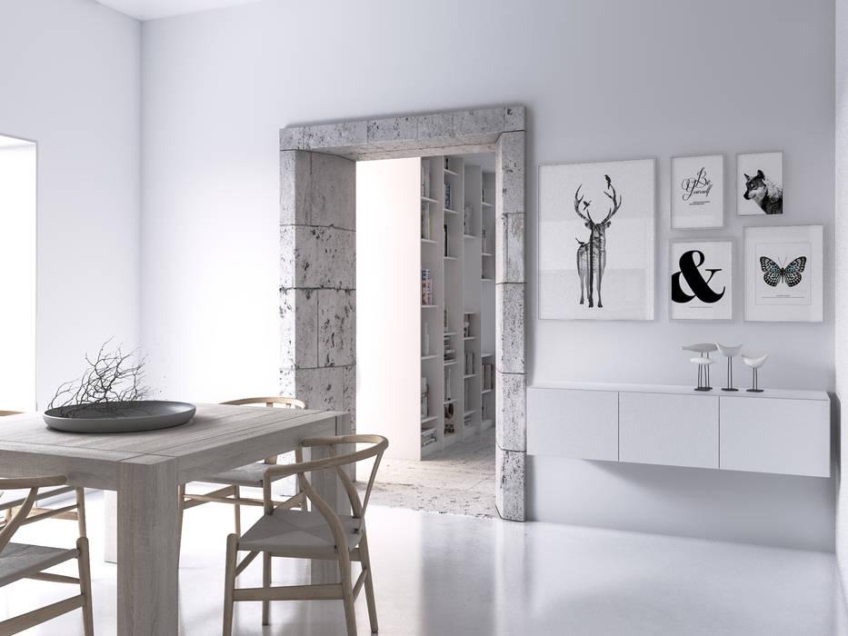 Vista da cozinha para a ampliação com a sala de estar: Cozinhas  por Varq.