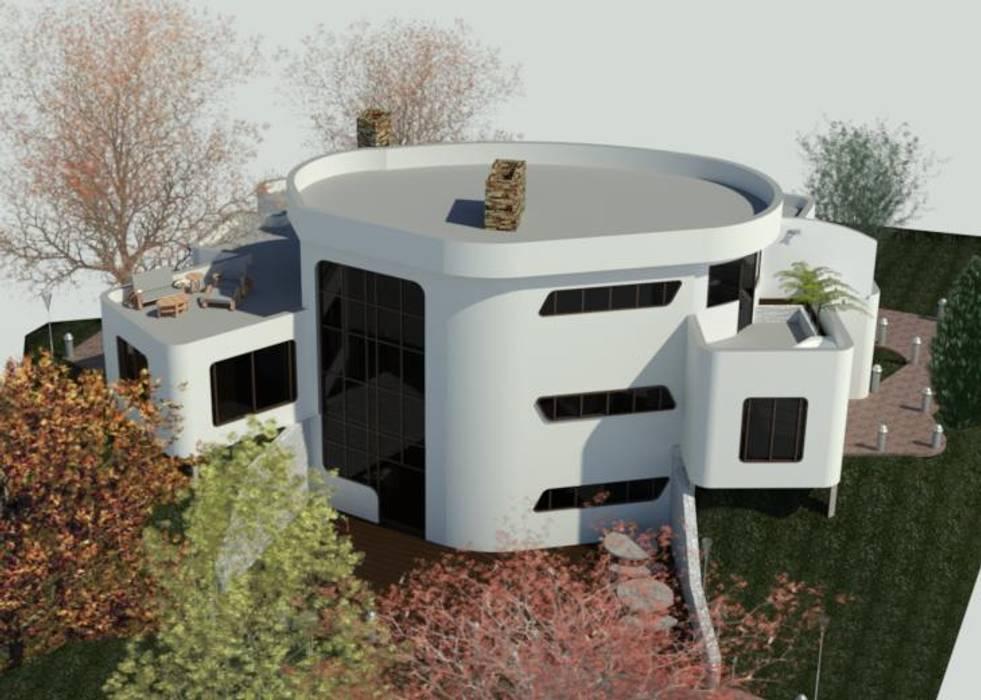 Fachada Posterior Casas de estilo minimalista de Bioarke Construcciones C.A. Minimalista Aglomerado