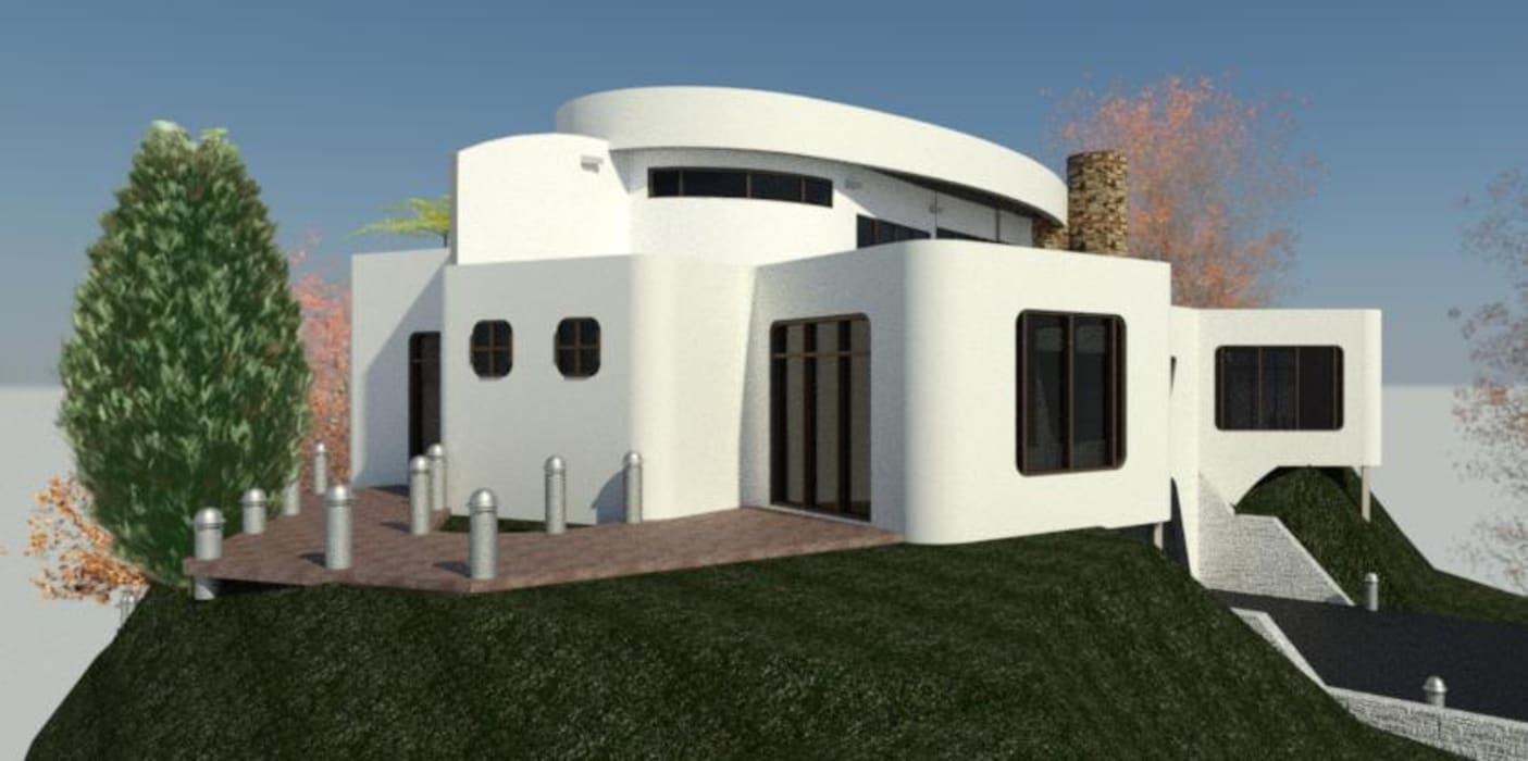 fachada Lateral Izquierda. Bioarke Construcciones C.A. Balcones y terrazas de estilo minimalista Aglomerado Blanco