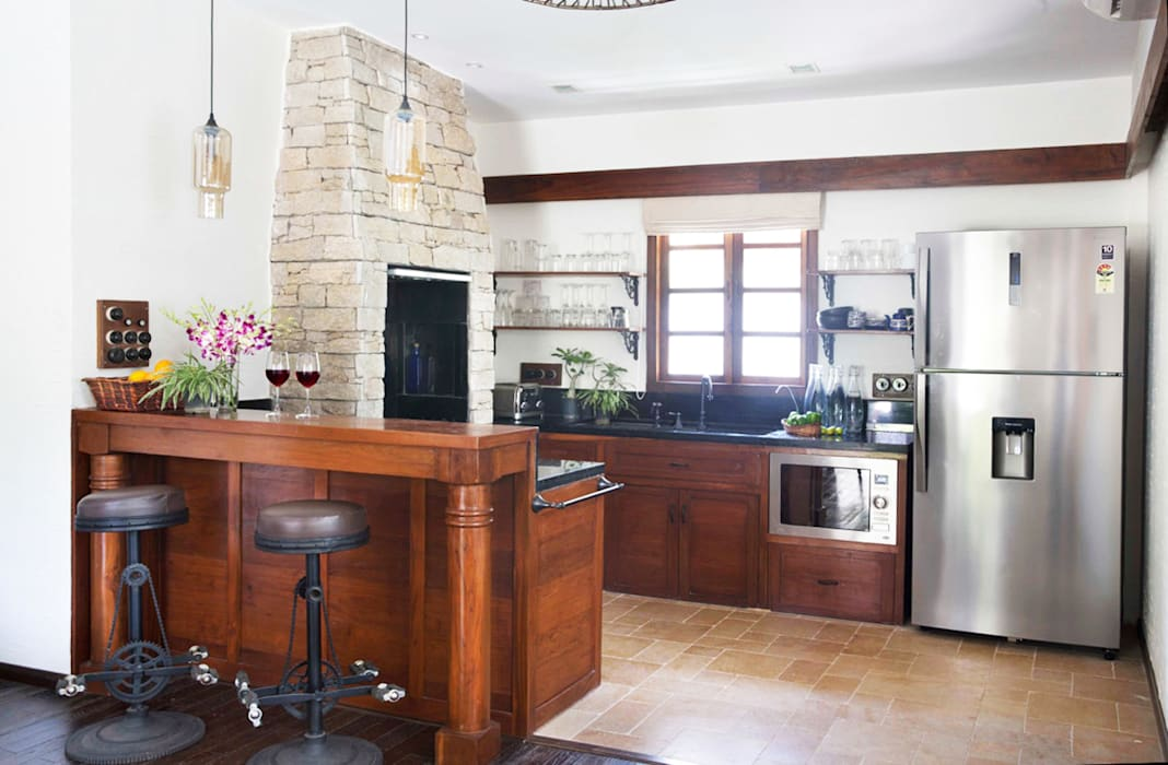 Residential - Juhu Rustic style kitchen by Nitido Interior design Rustic Solid Wood Multicolored